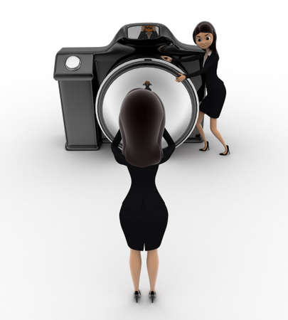 anlge: 3d one woman taking picture using camera and another woman hiding her face with mask concept on white background, front anlge view Stock Photo