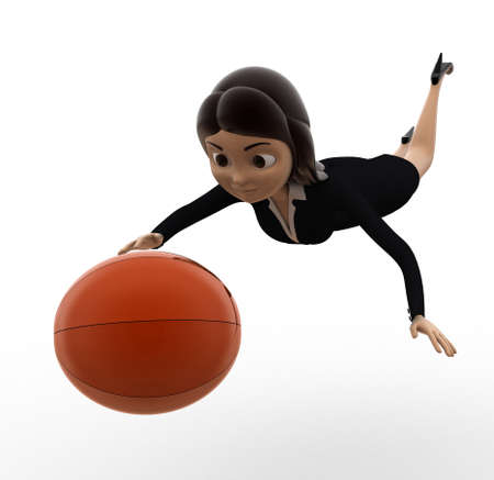 woman side view: 3d woman catch ball concept on white background,  side angle view Stock Photo