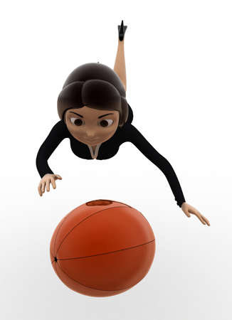 catch: 3d woman catch ball concept on white background,  front angle view
