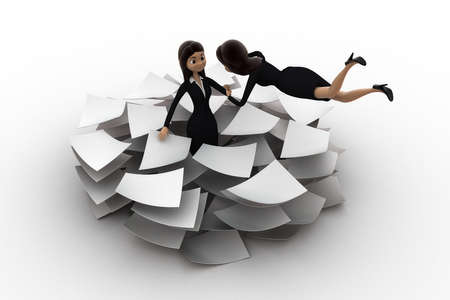 overwork: 3d woman lots of paper work concept on white background, front angle view Stock Photo