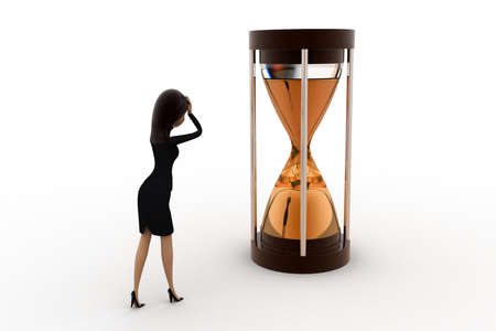 time limit: 3d woman time limit concept on white background, side angle view