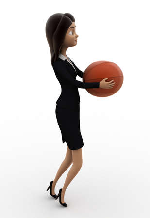 woman side view: 3d woman holding ball concept on white background,   side angle view
