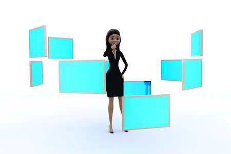 3d woman with many screens concept on white background, front angle view Stock Photo
