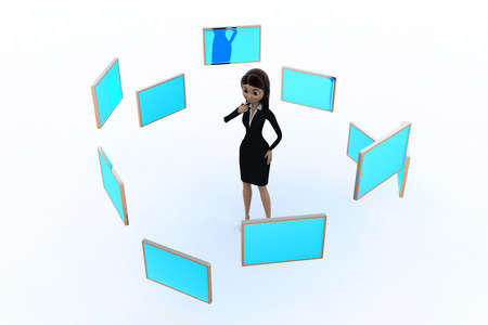 3d woman with many screens concept on white background,  top  angle view