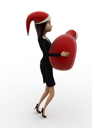 xmas background: 3d women wearing xmas hat and holding a xmas bag concept on white isolated background , side angle view