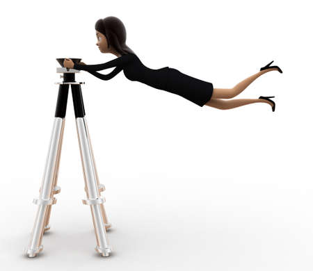 controlling: 3d women controlling camera stand concept on white isolated background , side angle view