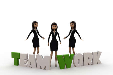 togheter: 3d woman team work concept on white background, front angle view