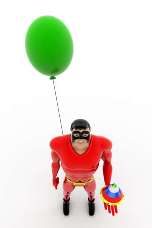 top angle view: 3d superhero birthday celebration concept on white isolated background , top angle view