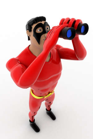 zooming: 3d superhero with binocular concept on white background,  top angle view