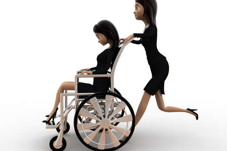 togheter: 3d woman help on wheel chair concept on white background,  side angle view Stock Photo