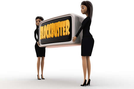 blockbuster: 3d woman blockbuster concept on white background,  side angle view
