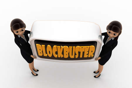 blockbuster: 3d woman blockbuster concept on white background,  top angle view Stock Photo