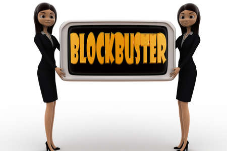 blockbuster: 3d woman blockbuster concept on white background, front angle view
