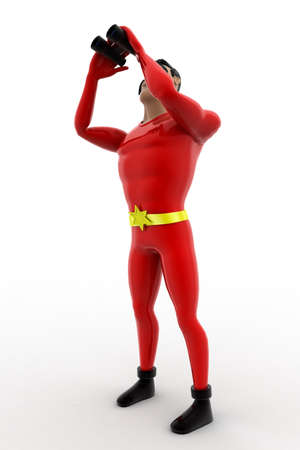 zooming: 3d superhero with binocular concept on white background,  side angle view Stock Photo
