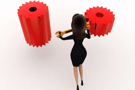 woman back: 3d woman on gears concept on white background,  back angle view Stock Photo