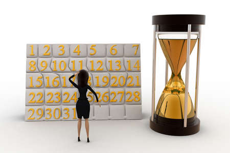 scheduling: 3d woman calendar and clock concept on white background, front angle view
