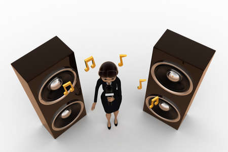 entertainer: 3d woman music concept on white background,  top  angle view Stock Photo