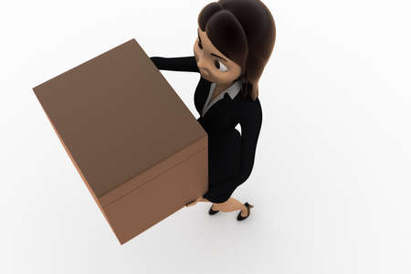 top angle view: 3d woman holding box concept on white background,   top angle view