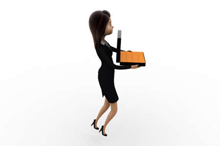 biscuts: 3d woman holding briefcase containing gold biscuts  concept  on white background, side angle view Stock Photo