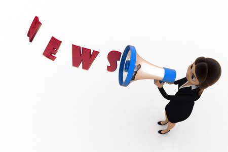 top angle view: 3d woman news concept on white background, top angle view