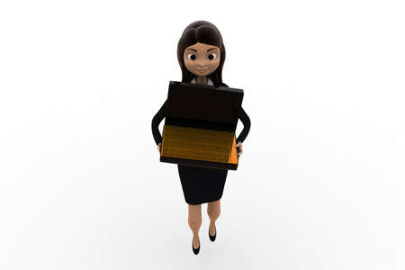 biscuts: 3d woman holding briefcase containing gold biscuts  concept  on white background, front angle view