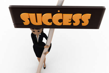 top angle view: 3d woman success concept on white background, top angle view Foto de archivo