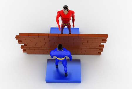 top angle view: 3d superhero inbetween wall  concept on white background,  top angle view