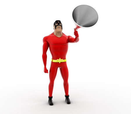 proclaim: 3d superhero annoucing through speaker concept on white background,  front angle view