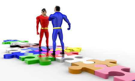 superheros: 3d superheros shaking hands on puzzle path  concept on white background, side angle view Stock Photo
