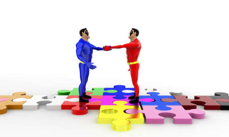 superheros: 3d superheros shaking hands on puzzle path  concept on white background, front angle view