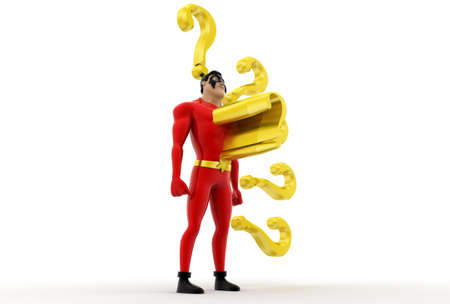 questionnaires: 3d superhero has questions concept on white background,  side angle view