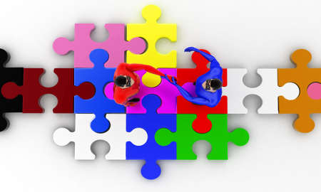 superheros: 3d superheros shaking hands on puzzle path  concept on white background,  top angle view