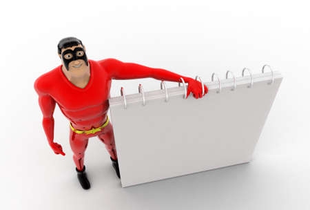 top angle view: 3d superhero calendar concept on white background,  top angle view