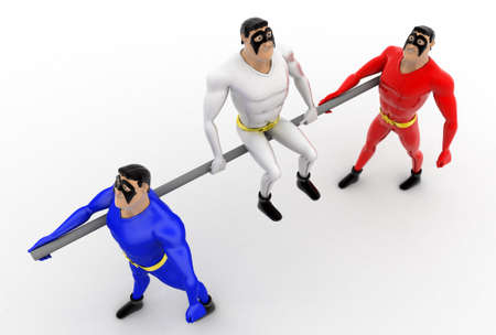 top angle view: 3d superhero leadership concept on white background,  top angle view