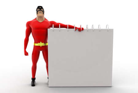 almanac: 3d superhero calendar concept on white background, front angle view