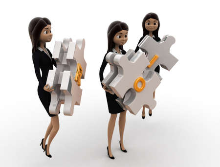 rate of return: 3d woman ROI concept on white background, side angle view