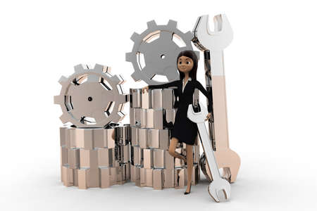 mechanician: 3d woman worker - repair worker  concept on white background, front angle view Stock Photo