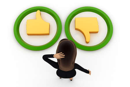 posing  agree: 3d woman confused about like dislike concept on white background,  top angle view Stock Photo