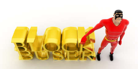 blockbuster: superhero presenting blockbuster concept on white background - 3d rendering ,  top  angle view Stock Photo