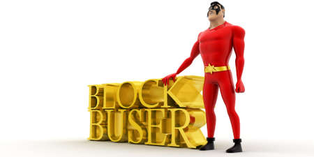 blockbuster: superhero presenting blockbuster concept on white background - 3d rendering , side angle view