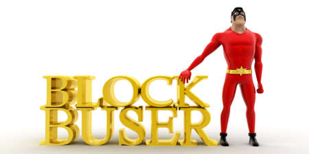 blockbuster: superhero presenting blockbuster concept on white background - 3d rendering , front angle view