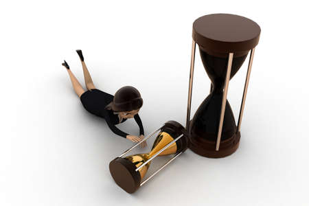 save time: women balancing hour glass to save time concept on white isolated background - 3d rendering , top angle view