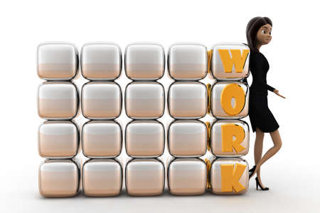 white work: woman with work cubicles concept on white background - 3d rendering,  front angle view