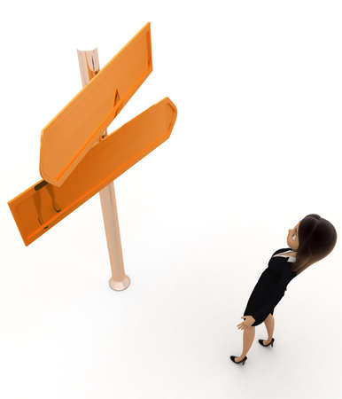 top angle view: woman choosing direction concept on white background - 3d rendering,  top angle view