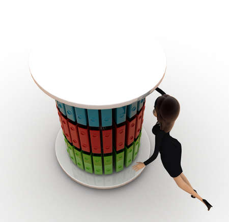 top angle view: woman with file stand concept on white background - 3d rendering, top angle view Stock Photo
