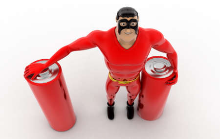top angle view: superhero with battery cells concept on white background - 3d rendering,  top angle view