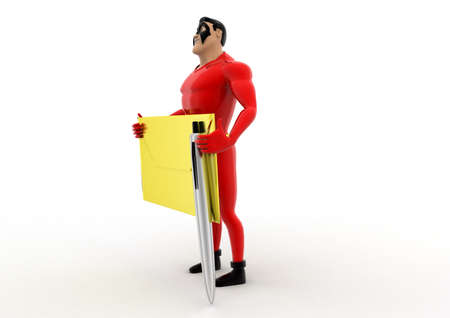 sender: superhero holding envelop and pen concept on white background - 3d rendering, side angle view Stock Photo