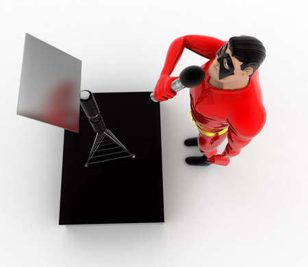 top angle view: superhero singing concept on white background - 3d rendering, top angle view Foto de archivo