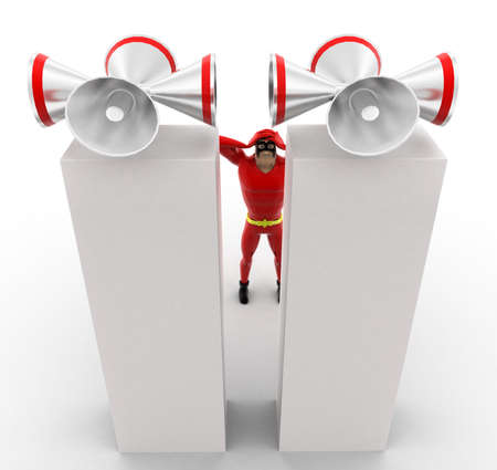loud speakers: superhero closing ears standing by loud speakers concept concept on white background - 3d rendering, top angle view