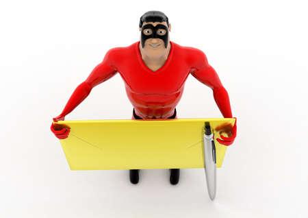 sobres de carta: superhéroe que sostiene el concepto envuelve y lápiz sobre fondo blanco - 3d representación, ángulo de vista superior